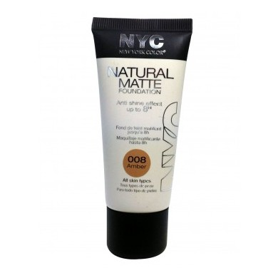NYC Natural Matte Foundation, No. 008 Amber 30ml
