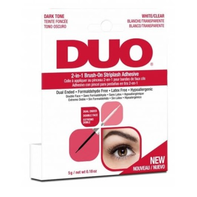 Ardell Duo 2 in 1 Brush On Striplash Adhesive White/Clear & Dark Tone 5g